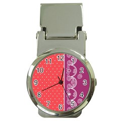 Lace Dots With Violet Rose Money Clip Watch