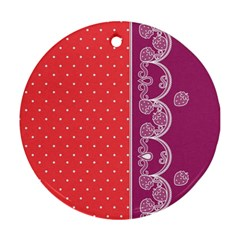 Lace Dots With Violet Rose Round Ornament (two Sides)