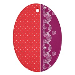 Lace Dots With Violet Rose Oval Ornament (Two Sides)