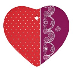 Lace Dots With Violet Rose Heart Ornament (Two Sides)