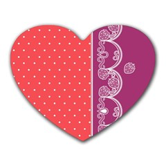 Lace Dots With Violet Rose Mousepad (Heart)