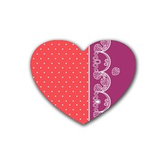 Lace Dots With Violet Rose Heart Coaster (4 pack)