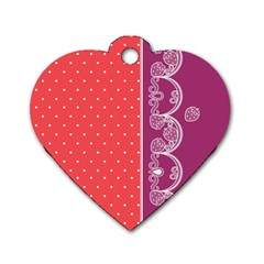 Lace Dots With Violet Rose Dog Tag Heart (Two Sides)