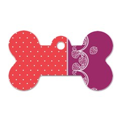 Lace Dots With Violet Rose Dog Tag Bone (One Side)
