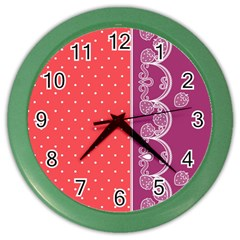 Lace Dots With Violet Rose Color Wall Clock