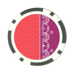 Lace Dots With Violet Rose Poker Chip Card Guard