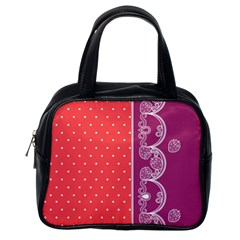 Lace Dots With Violet Rose Classic Handbag (One Side)