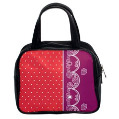 Lace Dots With Violet Rose Classic Handbag (two Sides)