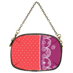 Lace Dots With Violet Rose Chain Purse (Two Sides)