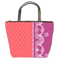 Lace Dots With Violet Rose Bucket Bag