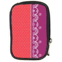 Lace Dots With Violet Rose Compact Camera Leather Case
