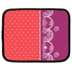 Lace Dots With Violet Rose Netbook Case (xl)