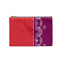 Lace Dots With Violet Rose Cosmetic Bag (Medium)