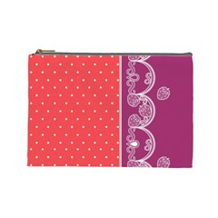 Lace Dots With Violet Rose Cosmetic Bag (large)