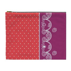 Lace Dots With Violet Rose Cosmetic Bag (XL)