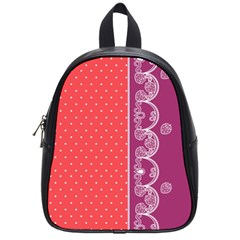 Lace Dots With Violet Rose School Bag (Small)