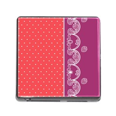 Lace Dots With Violet Rose Memory Card Reader with Storage (Square)