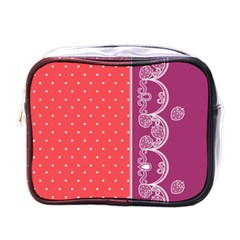 Lace Dots With Violet Rose Mini Toiletries Bag (One Side)