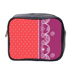 Lace Dots With Violet Rose Mini Toiletries Bag (Two Sides)