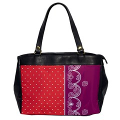 Lace Dots With Violet Rose Oversize Office Handbag (One Side)