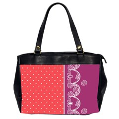 Lace Dots With Violet Rose Oversize Office Handbag (Two Sides)