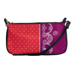 Lace Dots With Violet Rose Shoulder Clutch Bag