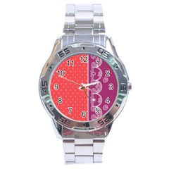 Lace Dots With Violet Rose Stainless Steel Analogue Men's Watch