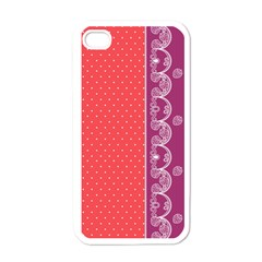 Lace Dots With Violet Rose Apple iPhone 4 Case (White)