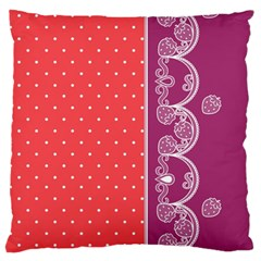Lace Dots With Violet Rose Large Cushion Case (Two Sides)
