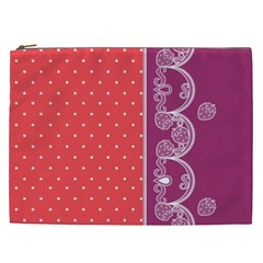 Lace Dots With Violet Rose Cosmetic Bag (XXL)