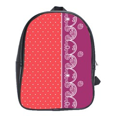 Lace Dots With Violet Rose School Bag (xl)