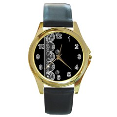 Strawberry Lace White With Black Black Leather Gold Rim Watch (Round)