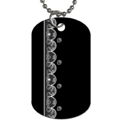 Strawberry Lace White With Black Single Sided Dog Tag