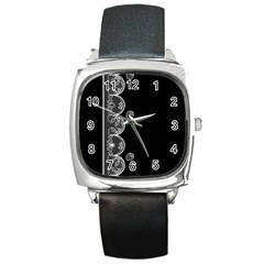 Strawberry Lace White With Black Black Leather Watch (square)