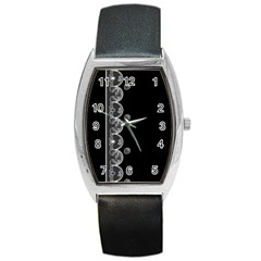 Strawberry Lace White With Black Black Leather Watch (Tonneau)