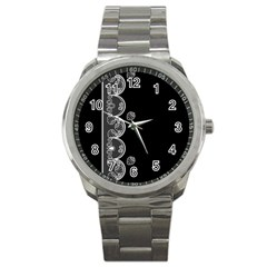 Strawberry Lace White With Black Stainless Steel Sports Watch (Round)
