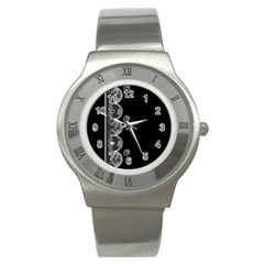 Strawberry Lace White With Black Stainless Steel Watch (Round)