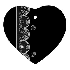 Strawberry Lace White With Black Heart Ornament (two Sides)
