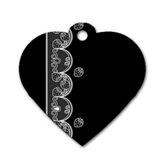 Strawberry Lace White With Black Single-sided Dog Tag (Heart)