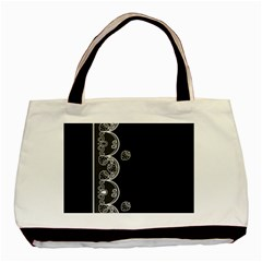 Strawberry Lace White With Black Twin-sided Black Tote Bag