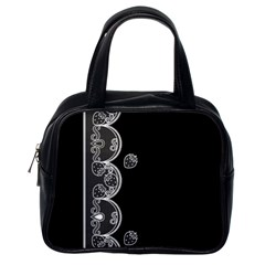 Strawberry Lace White With Black Single Sided Satchel Handbag