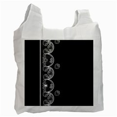 Strawberry Lace White With Black Single Sided Reusable Shopping Bag