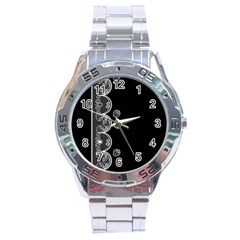 Strawberry Lace White With Black Stainless Steel Analogue Watch (Round)