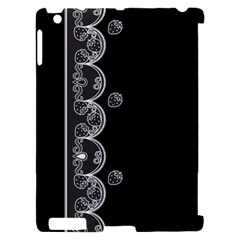 Strawberry Lace White With Black Apple iPad 2 Hardshell Case (Compatible with Smart Cover)