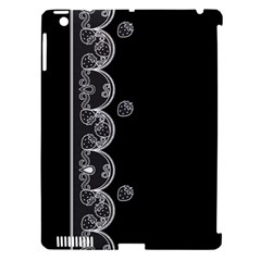 Strawberry Lace White With Black Apple Ipad 3/4 Hardshell Case (compatible With Smart Cover)