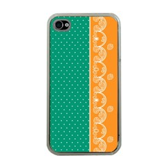 Lace Dots Gold Emerald Apple iPhone 4 Case (Clear)