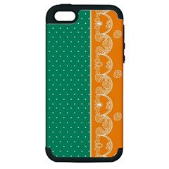 Lace Dots Gold Emerald Apple iPhone 5 Hardshell Case (PC+Silicone)
