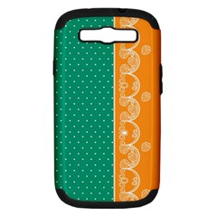 Lace Dots Gold Emerald Samsung Galaxy S III Hardshell Case (PC+Silicone)