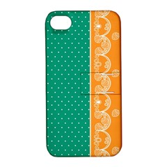 Lace Dots Gold Emerald Apple iPhone 4/4S Hardshell Case with Stand