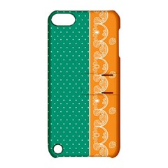 Lace Dots Gold Emerald Apple iPod Touch 5 Hardshell Case with Stand
